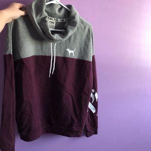 Pink cowl neck hoodie